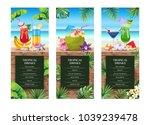 tropical hawaiian cocktail menu.... | Shutterstock .eps vector #1039239478