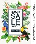 tropical hawaiian sale poster.... | Shutterstock .eps vector #1039239562