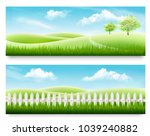 two nature meadow banners with... | Shutterstock .eps vector #1039240882