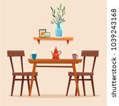 dining table in kitchen with... | Shutterstock .eps vector #1039243168