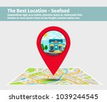 the best location seafood.... | Shutterstock .eps vector #1039244545