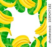 ripe bananas and palm leaves... | Shutterstock .eps vector #1039247182