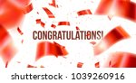 greeting card with red confetti.... | Shutterstock .eps vector #1039260916