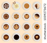 vector coffe top view realistic ... | Shutterstock .eps vector #1039273672