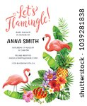 flamingo party invitation.... | Shutterstock .eps vector #1039281838