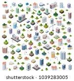 isometric city set street road...   Shutterstock .eps vector #1039283005