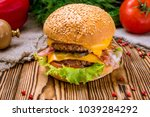 hamurger with fries | Shutterstock . vector #1039284292