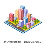 colorful 3d isometric city of... | Shutterstock .eps vector #1039287082