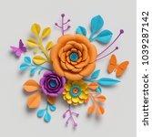 3d render  paper flowers... | Shutterstock . vector #1039287142