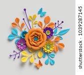 3d render  paper flowers... | Shutterstock . vector #1039287145