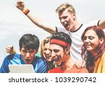 happy supporters from different ... | Shutterstock . vector #1039290742