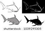 isolated shark   clip art... | Shutterstock .eps vector #1039295305