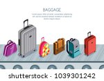 multicolor luggage  suitcase ... | Shutterstock .eps vector #1039301242
