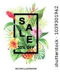 tropical hawaiian sale poster... | Shutterstock .eps vector #1039301962
