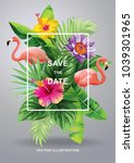 tropical hawaiian wedding... | Shutterstock .eps vector #1039301965