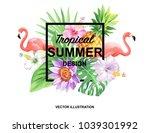 tropical hawaiian design with... | Shutterstock .eps vector #1039301992