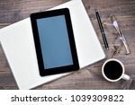 tablet with blank screen and... | Shutterstock . vector #1039309822