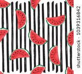 water melon seamless pattern... | Shutterstock . vector #1039316842