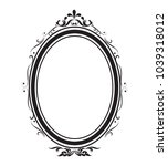 oval frame and border black and ... | Shutterstock .eps vector #1039318012