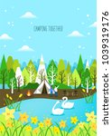 spring camping and traveling | Shutterstock .eps vector #1039319176