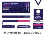 concert ticket  bracelets ... | Shutterstock .eps vector #1039324828