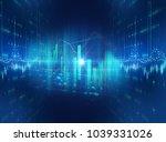 financial graph on technology... | Shutterstock . vector #1039331026