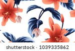 seamless pattern  orange lily... | Shutterstock .eps vector #1039335862