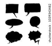 vector set of black doodle... | Shutterstock .eps vector #1039343482