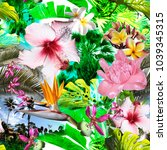 floral tropical pattern beauty... | Shutterstock . vector #1039345315