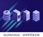 set of isometric server rack ... | Shutterstock .eps vector #1039356136