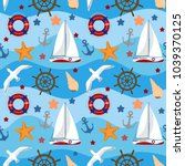 nautical seamless pattern with... | Shutterstock .eps vector #1039370125