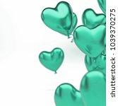 sea green metallic baloons in... | Shutterstock . vector #1039370275
