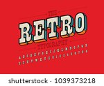vector of retro bold font and... | Shutterstock .eps vector #1039373218
