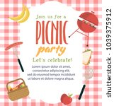 picnic party invitation card.... | Shutterstock .eps vector #1039375912