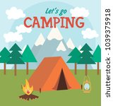 camping  invitation card.... | Shutterstock .eps vector #1039375918