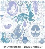 easter seamless pattern in... | Shutterstock .eps vector #1039378882