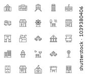 urban buildings outline icons... | Shutterstock .eps vector #1039380406