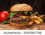 tasty grilled home made burger... | Shutterstock . vector #1039381708