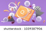 orange turntable and orange... | Shutterstock . vector #1039387906