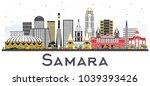 samara russia city skyline with ... | Shutterstock . vector #1039393426