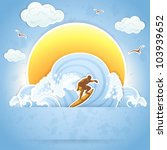 surfer on a waves  illustration. | Shutterstock .eps vector #103939652