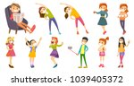 caucasian white children and... | Shutterstock .eps vector #1039405372