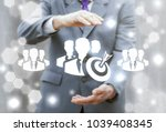 businessman offers group man... | Shutterstock . vector #1039408345