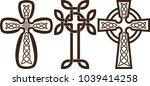 set of celtic crosses with... | Shutterstock .eps vector #1039414258