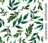 watercolor green leaves.... | Shutterstock . vector #1039414468