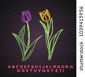 flower neon light glowing tulip ... | Shutterstock .eps vector #1039415956