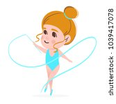 gymnastics with ribbon colorful ... | Shutterstock .eps vector #1039417078