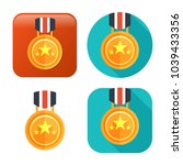 win medal icon   golden winner... | Shutterstock .eps vector #1039433356