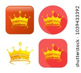 golden crown icon   vector king ... | Shutterstock .eps vector #1039433392