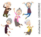 active and happy old senior... | Shutterstock .eps vector #1039433902